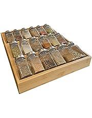Simhoo Kruidenrek van bamboe, kruidenhouder voor laden, kruidenschaal, afgeschuinde opbergdoos voor kruidenflessen, geschikt voor de eetkamer, keukenlade