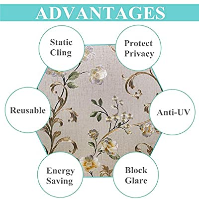 VELIMAX Static Cling Stained Glass Window Film Privacy Window Sticker Decorative Window Tint Colored Removable Sun Blocking