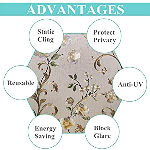 VELIMAX Static Cling Stained Glass Window Film Privacy Window Sticker Decorative Window Tint Colored Removable Sun Blocking (17.7″x78.7″)