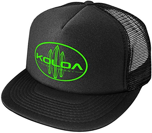 - Koloa Surf Classic Surfboards High Profile Poly-Foam Trucker Hat-Black/Black/Green