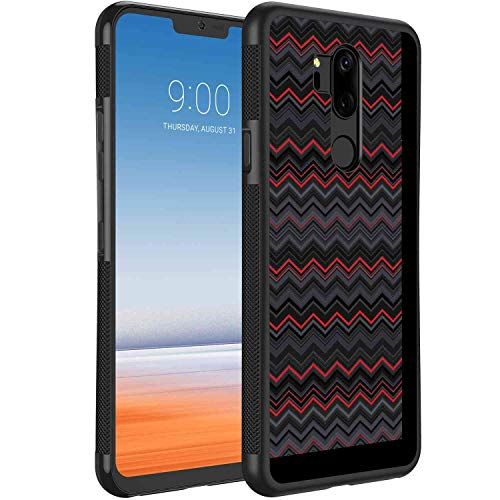 (LG G7 ThinQ Case (6.1-Inch) Red and Black Zigzag Chevron Design with Bold Thin Layers Print Pale Grey Charcoal Grey Scarlet )
