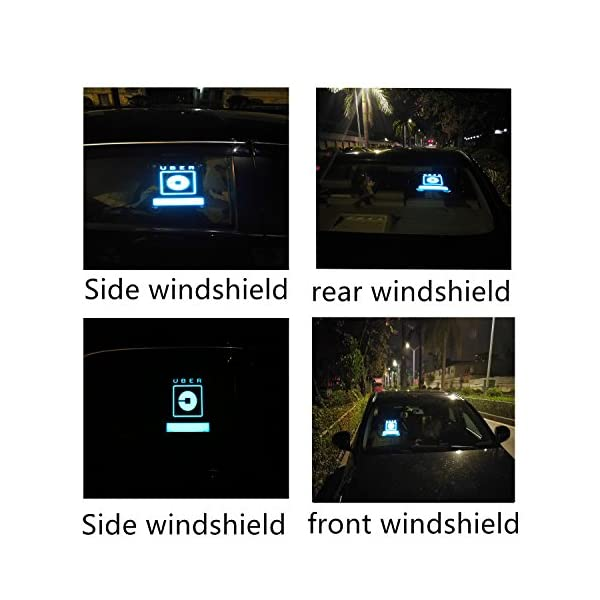 UBER SIGN GLOW LED Light Logo Decal Stickers With Bigger Size High Light 4 Larger Suction Cup Removable For Rideshare Driver UBER Light Up Sign