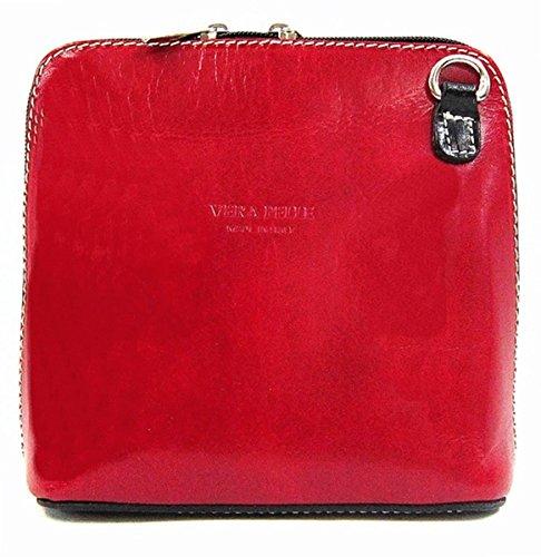 Black mélangées with en Couleurs Pelle cuir par italien bandoulière contrast pour à Vera Sac véritable Red femme 7qZyUC