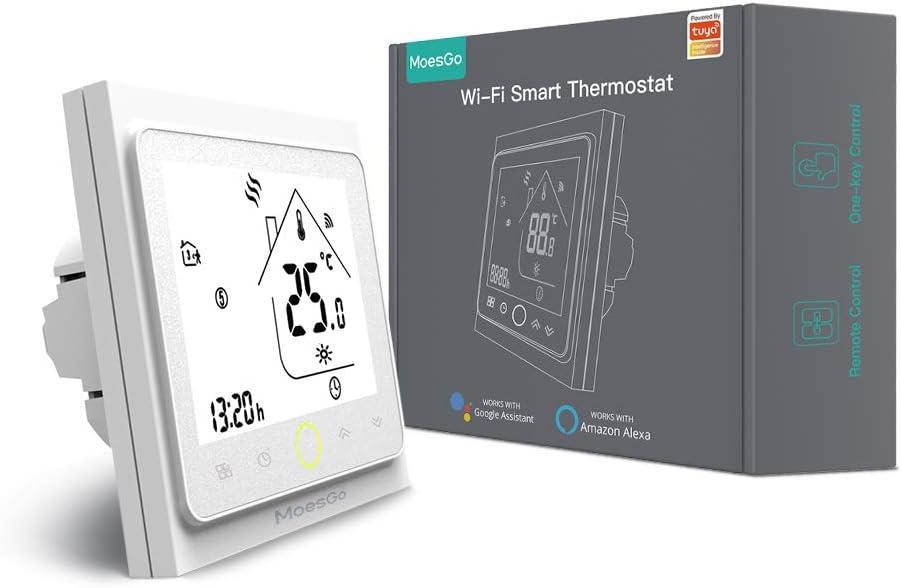 MoesGo Termostato para calentadores de gas natural y regulador de temperatura activado por wifi para hogar digital, compatible con las apps Smart Life y Tuya, y con Alexa y Google Home