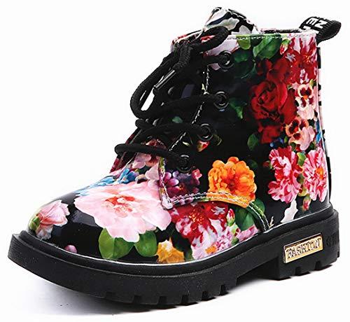 Beautoday Boys Girls PU Waterproof Child Martin Boots Side Zipper Lace-up Ankle Boots
