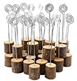Dedoot Wooden Base Place Card Holders, Rustic Real Wood Base Table Number Holder Party Decoration Card Holders Picture Memo Note Photo Clip Holder- Pack of 60