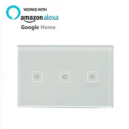 smart wall light switch compatible with alexa google home knaclean touch screen wi fi