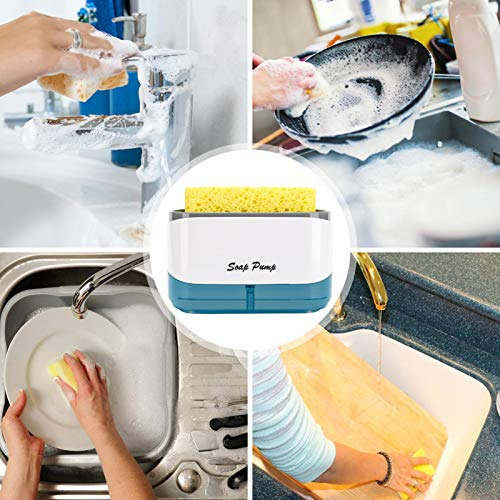 Kitchen Dish soap Dispenser with Sponge Holder, 2020 Newest 2-in-1 Countertop Soap Pump Dispenser, for Kitchen Sink dishwashing Soap Dispenser - 12.5 Ounces