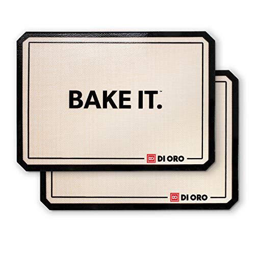 DI ORO - Pro Silicone Baking Mat - Nonstick Silicone Sheets - 480° Heat Resistant - 16 1/2 inch× 11 5/8 inch Half Sheet - 1.0mm Thick Pro Grade BPA Free Silicone - A Lifetime of Joyful Cooking - 2-Pack