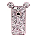 5s cute protective cases - iPhone SE Case, MC Fashion Super Cute Sparkle Bling Bling Glitter 3D Mickey Mouse Ears Soft and Protective TPU Rubber Case for iPhone 5/5S/SE (Rose Gold)