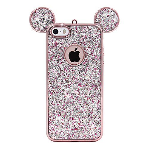 iPhone SE Case, MC Fashion Super Cute Sparkle Bling Bling Glitter 3D Mickey Mouse Ears Soft and Protective TPU Rubber Case for iPhone 5/5S/SE (Rose Gold) (Iphone 5s Case Cute Bling)