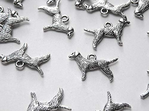 World's Natural Treasures 10 Dog Standing Charms Retriever Chinese Zodiac Year of The Dog Antique Silver 25x15mm