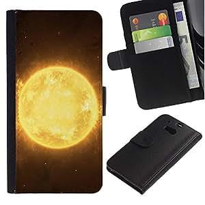 """HTC One M8 , la tarjeta de Crédito Slots PU Funda de cuero Monedero caso cubierta de piel ("""" Sun Star Yellow Space Universe Burning Planet"""")"""