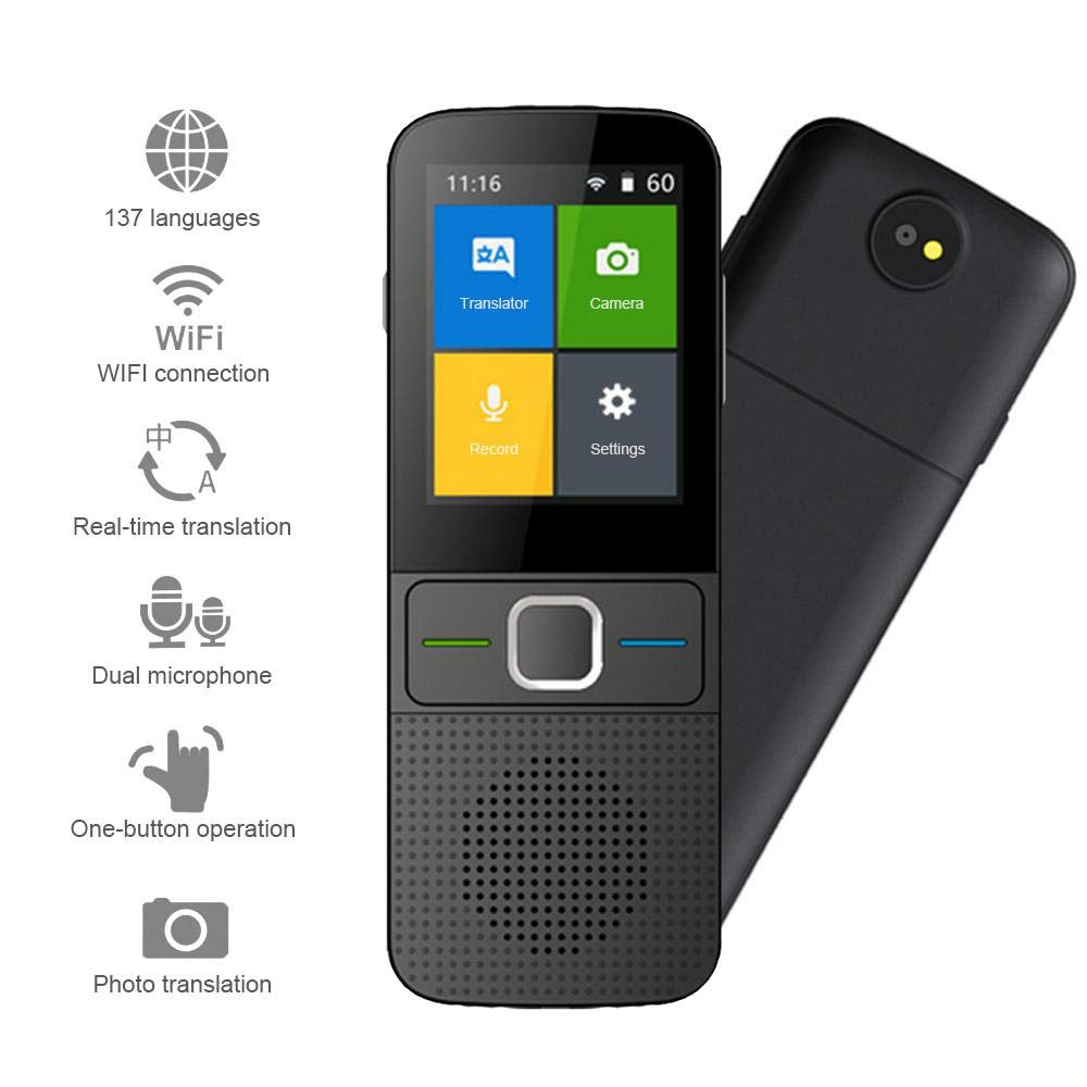 MOGOI Smart Voice Translator Device, Real Time Two-Way Instant Offline Languages Translator Device WiFi 4G 2.4 Inch Touch Screen Support 137 Languages and Photographing Translation