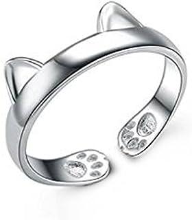 Monbedos Einzigartige Cute Cat Ohr versilbert offener Ring für M?dchen