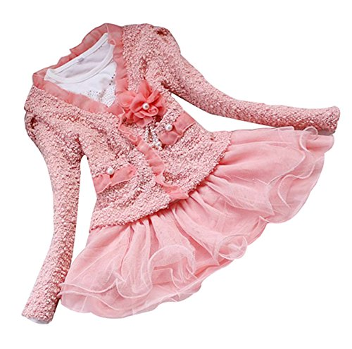 DFXIU Kids Girls 2 Piece Cardigan Clothes TuTu Dress Outfit Pink 3-4 Years Old