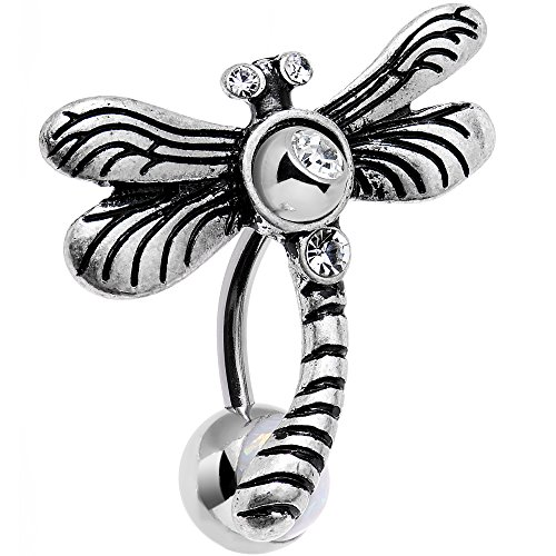 Body Candy Stainless Steel Clear Accent Flyaway Dragonfly Top Mount Belly Ring (Firefly Charm)