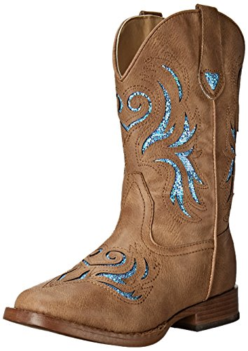 ROPER Girls' Glitter Breeze Western Boot, Tan, 1 M US Little Kid