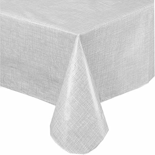 Premium Solid Color Vinyl Flannel Backed Tablecloth 52 x 90 Inch Oblong - White