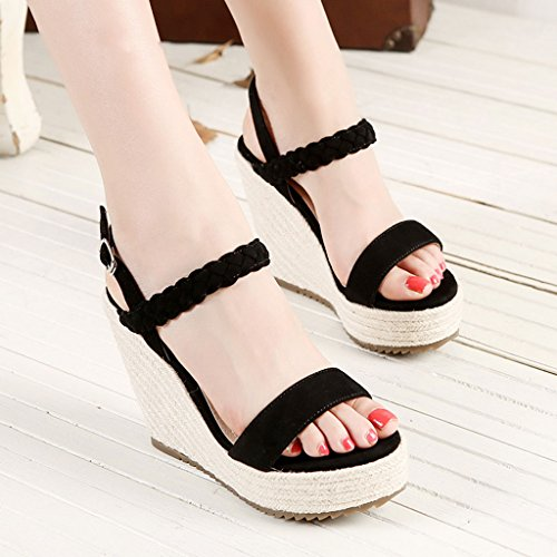 Women's Banquet Rope Black Shoes Heels Sandals Braided Hemp High Wedge Platform Women Sexy FnPgBSq