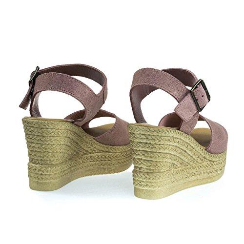 Plast Imitert Espadrille Plattform Kile Sandal, Kvinner Åpen Tå Lilla Rosa