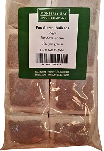 Pau D'Arco ALL-NATURAL HERBAL TEA 200 Bags 1 LB (Tabebuia Impetiginosa) (inner bark) - Approximately 200 Individual Tea Bags Bulk (16 oz) Caffeine Free (Best Pau D Arco Tea)