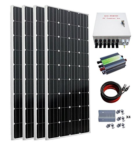 ECO-WORTHY 600W Monocrystalline Off Grid Solar Panel Kit: 4pcs 160W Mono Solar Panels + 45A Charge Controller + MC4 Solar Cables + Solar Combiner Box + Solar Panel Mounting Brackets
