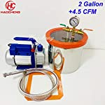haocheng 2.1 Gal (8L) Vacuum Chamber Kit with 5CFM 110V Vacuum Pump,22cm20cm Stainless Steel Degassing Chamber