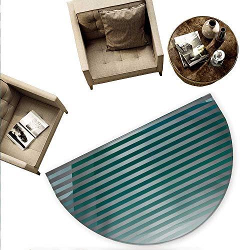 Modern Semicircle Doormat Computer Graphic Striped Minimalist Virtual Media Style Digital Artwork Halfmoon doormats H 59