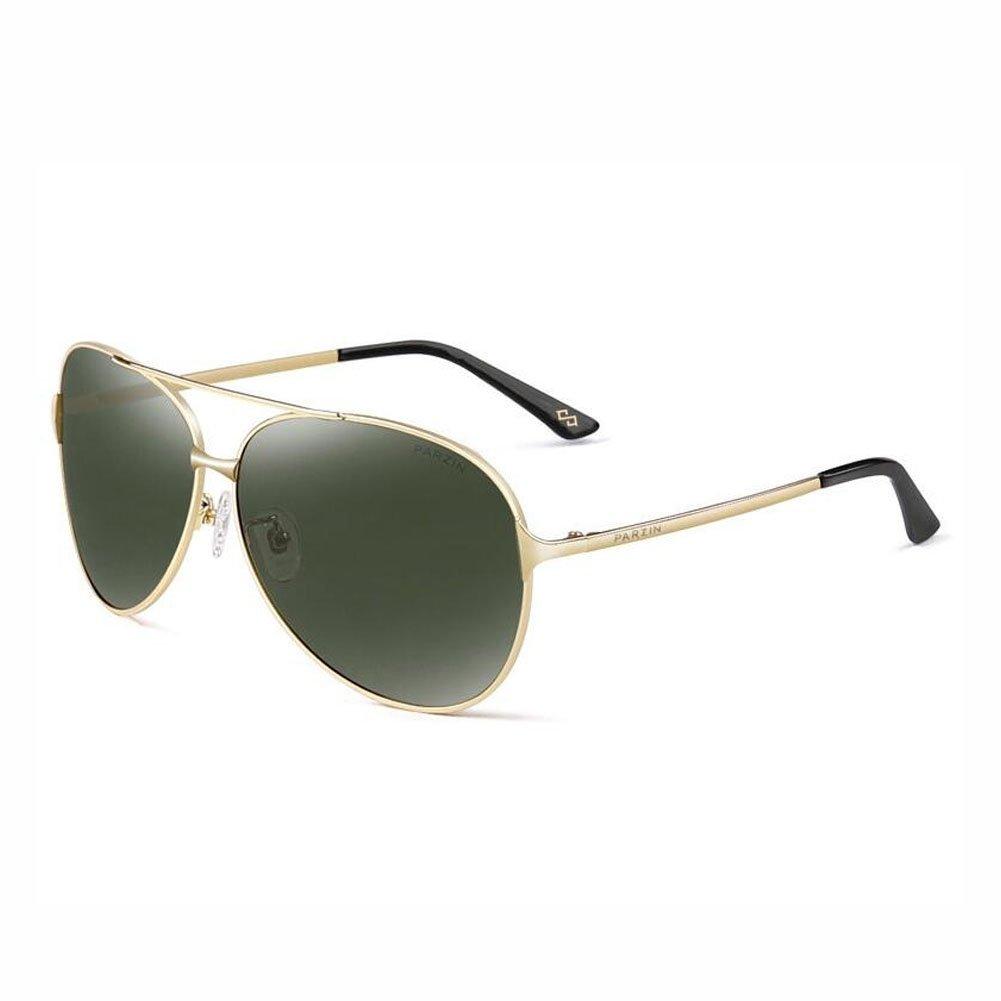 b88e9f82d PARZIN Hombre Gafas de Sol Aviador polarizado de conducción con Súper Ligero  Al-MG Marco De Metal - UV 400 Protección, Verde: Amazon.es: Hogar