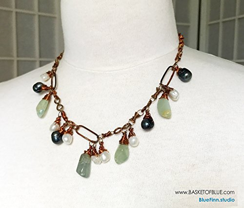 Copper Link Boho Aquamarine and Pearl Drop Dangle Necklace