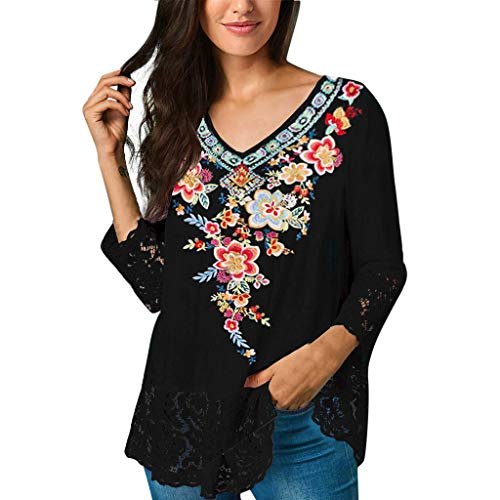 ℱLOVESOOℱ Women 3/4 Sleeve Blouse Plus Size Loose V Neck Floral Print Lace Stitching T-Shirt Tops Casual Tunic Shirts Black -