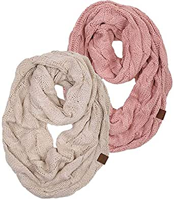 Funky Junque's Beanies Matching Ribbed Winter Warm Cable Knit Infinity Scarf (2 Pack - Beige & Indi Pink)