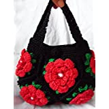 Black and black with pure handbag package package bag handbag double flower package parquet package beads