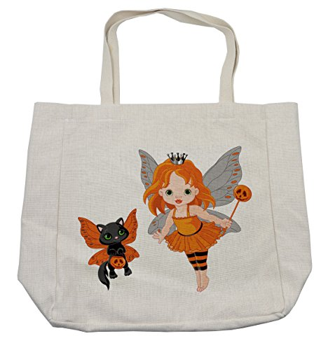 Lunarable Halloween Shopping Bag, Halloween Baby Fairy and Her Cat in Costumes Trick Butterflies Girls Kids Design, Eco-Friendly Reusable Bag for Groceries Beach Travel School & More, (Original Halloween Costume Ideas For Babies)