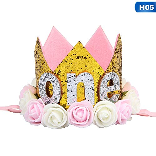 Little Boy And Girl Birthday Parties - Baby Girl First Birthday Party Hat With Hairband Princess Queen Crown Lace Hair Band Elastic Head - Adults Mause Donuts Girl Adult Yellow ()