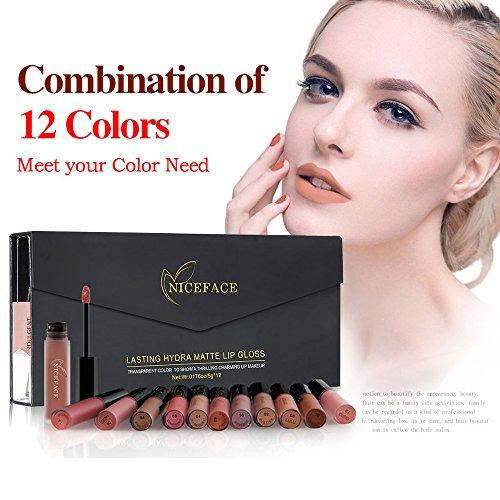 SHERUI Matte Lipstick Set ,12 Pcs Waterproof Long Lasting Lip Gloss Womens Cosmetic Makeup Liquid