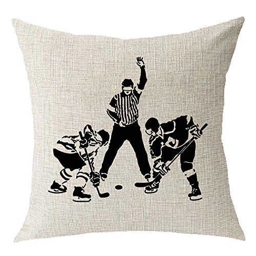 sports sports Playing ice hockey Cotton Linen Square Throw Waist Pillow Case Decorative Cushion Cover Pillowcase Sofa 18x18 inches