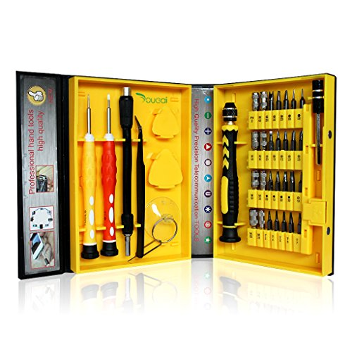 Yougai 38-piece Precision Computer Repair Tool Kit for iPad,iPhone,PC,Watch,Samsung and Other Smartphone Tablet Computer Electronic Devices (Yellow-38 in - Repair Pc Kit Tool