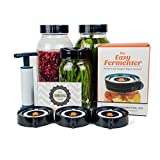 Easy Fermenter Wide Mouth Lid Kit: Simplified Fermenting In Jars Not Crock Pots! Make Sauerkraut, Kimchi, Pickles Or Any Fermented Probiotic Foods. 3 Lids, Extractor Pump & Recipe eBook - Mold Free