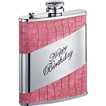 Visol Happy Birthday Crocodile Hip Flask, 6-Ounce, Pink