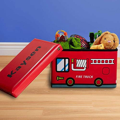 Dibsies Personalized Collapsible Junior Toy Box (Fire Truck)