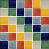 100 Hand Painted Solid Color Talavera Mexican Tiles 4''x4''