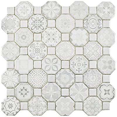 "SomerTile FOSTESWT Abacu Ceramic Floor & Wall Tile, 12.25"" x 12.25"", White,,, White, Grey"