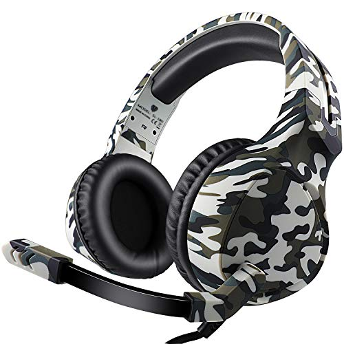 Gaming Headset for PS4, Xbox One, PC, Mac, Gaming Headphones with Mic (White Camo)