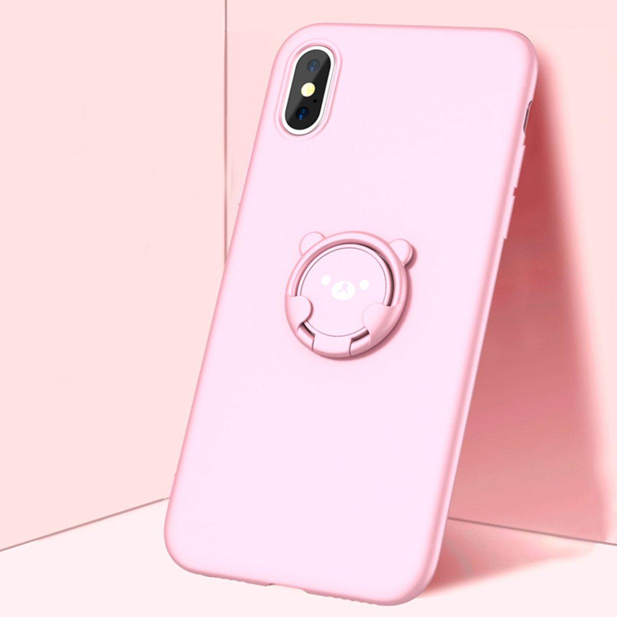 Sunstrider Aiqaa iPhone X Cas avec Rotation 360 Ours Porte-Support danneau B/équille de Protection /étui Transparent pour Apple X Couverture de T/él/éphone Noir