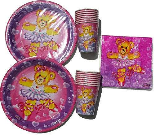 Celebrate!! Dancing Teddy Bear Party Package Plates (16) Napkins (16) Cups (16) -
