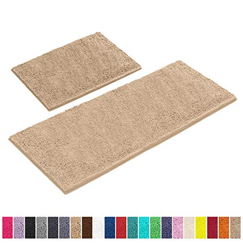 "LuxUrux Bathroom Rugs Set-Extra-Soft Plush Bath mat Shower Bathroom Rug,1"" Chenille Microfiber Material, Super Absorbent.Bath Rugs (Rectangular Runner Set, Beige)"