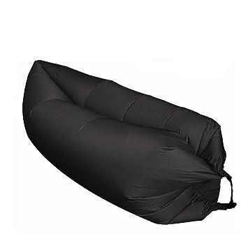 moresave hinchable de saco de dormir al aire libre plegable Lazy Dormir cama playa Camping aire tumbona sueño sofá, negro: Amazon.es: Deportes y aire libre