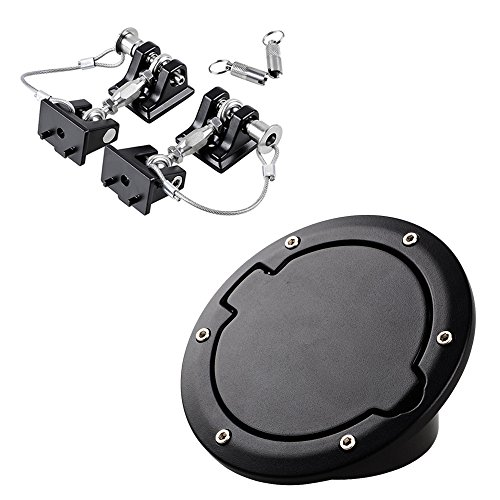 Astra Depot 2pcs Aluminum Locking Hood Look Catch Latches Buckle Bracket 2 Keys Kit Black Fuel Filler Door Gas Tank Cap Cover Compatible 2007-2017 Jeep Wrangler JK JKU